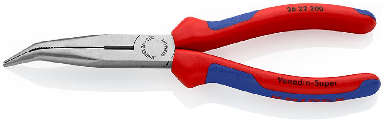 KNIPEX 2622 FLACHRUNDZANGE MIT SCHNEIDE STORCHSCHNABELZANGE GEBOGEN 26 22 200
